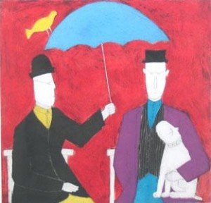 under the umbrella - red - print only
