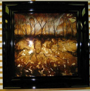 Brown Abstract Tree - Square - Original - Black - Framed