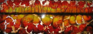 Red Abstract Tree - Landscape - Original - Framed