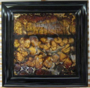Brown Abstract Tree II - Square - Original - Framed