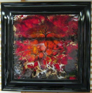 red abstract tree ii - square - framed