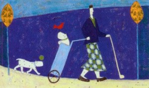 playing golf - print only
