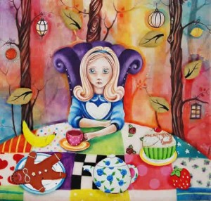 study of alice at the mad hatters tea-party - framed
