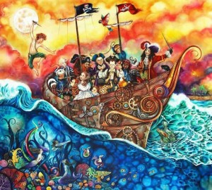 the pirate ship - peter pan - framed