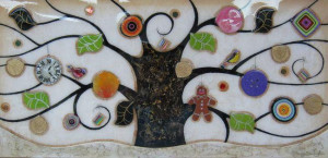 tree of tranquility, landscape (cream base) - framed
