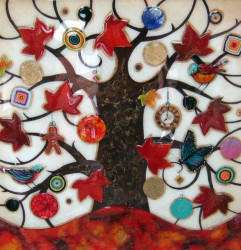 Tree Of Tranquility XL (Red Base & Maple Leaves) - Original - Framed
