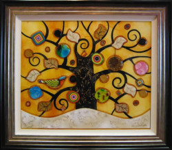 Tree of Tranquility, Square (Cream Base, Yellow Background) - Original