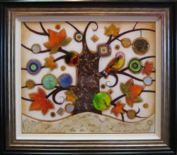 Tree of Tranquility, Square II (Cream Base) - Original - Framed