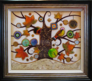 tree of tranquility, square ii (cream base) - framed