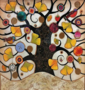 tree of tranquility, square iii (cream base) - framed