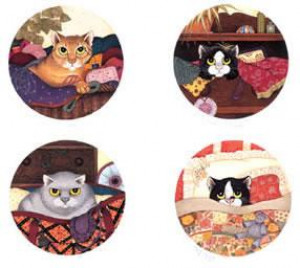 Lazy Cats (Set of 4) - Mounted