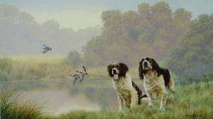 watersports - springer spaniels - mounted