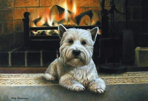 westie infront of fireplace - framed