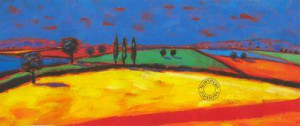 red and yellow fields - mounted