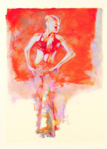 glitter girl on orange - print