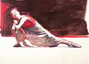 Dancer Red And White - Print
