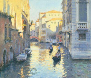 sunlit canal - venice - mounted