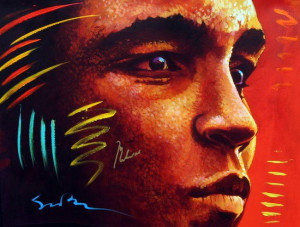 distant thunder (signed by muhammad ali) - framed