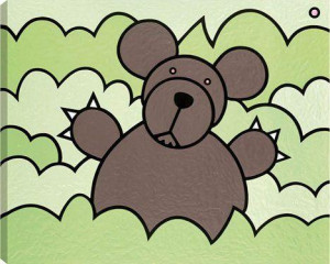 bear in bush - box canvas