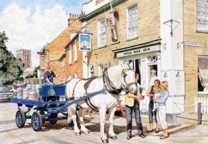 the sole bay inn, southwold - sam, the adnams dray horse - framed