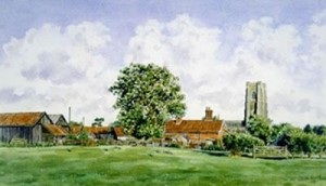 lavenham hall farm, suffolk - print