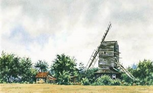 syleham post mill, suffolk - print