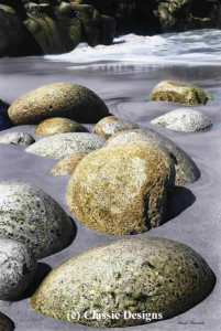striding stones - porth nanven, cornwall - print
