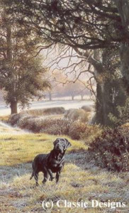 woodland call - black labrador - mounted
