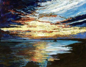 shoreline sunset - unstretched canvas