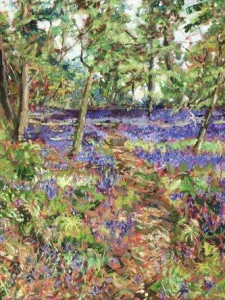 walk through the bluebells - unstretched canvas