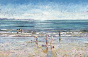 a day at the beach - unstretched canvas