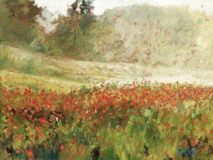 poppyfield at dawn - unstretched canvas