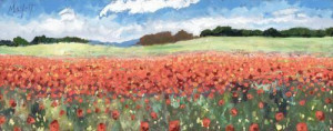 poppy profusion - unstretched canvas