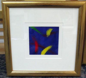 blue abstract i - gold frame - framed
