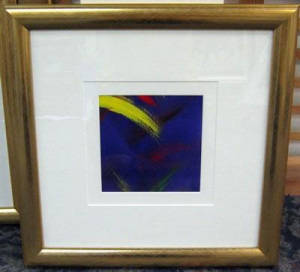 blue abstract ii - gold frame - framed