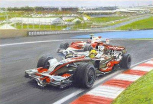a defining point (lewis hamilton overtakes timo glock) - mounted