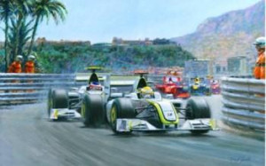 1-2 Monaco Grand Prix 2009 (Jenson Button & Rubens Barrichello) - Mounted