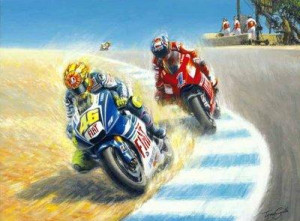 Coming Through (Valentino Rossi taking Casey Stoner) - Mounted