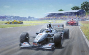an englishman, an irishman & a scotsman (coulthard, irvine & hill) - mounted