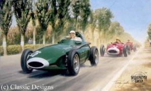 stirling moss, obe - mounted
