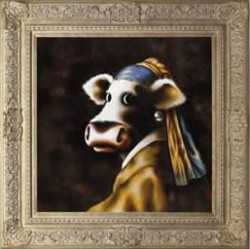 The Cow With The Pearl Earring - Ornate Framed