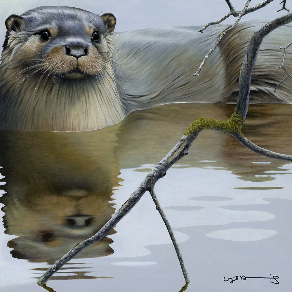 Otter - British Wildlife Series - Board With Slip by Nigel Hemming