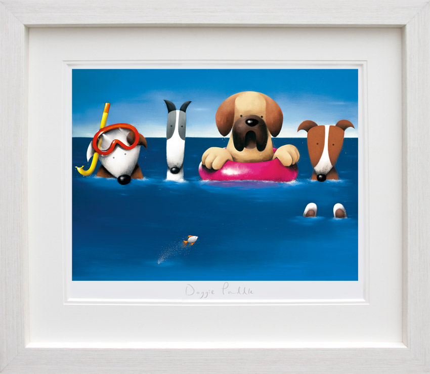 Doggie Paddle - White Framed by Doug Hyde