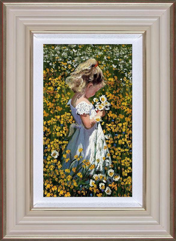 A Posie Of Pretty Daisies - Cream - Framed by Sherree Valentine Daines