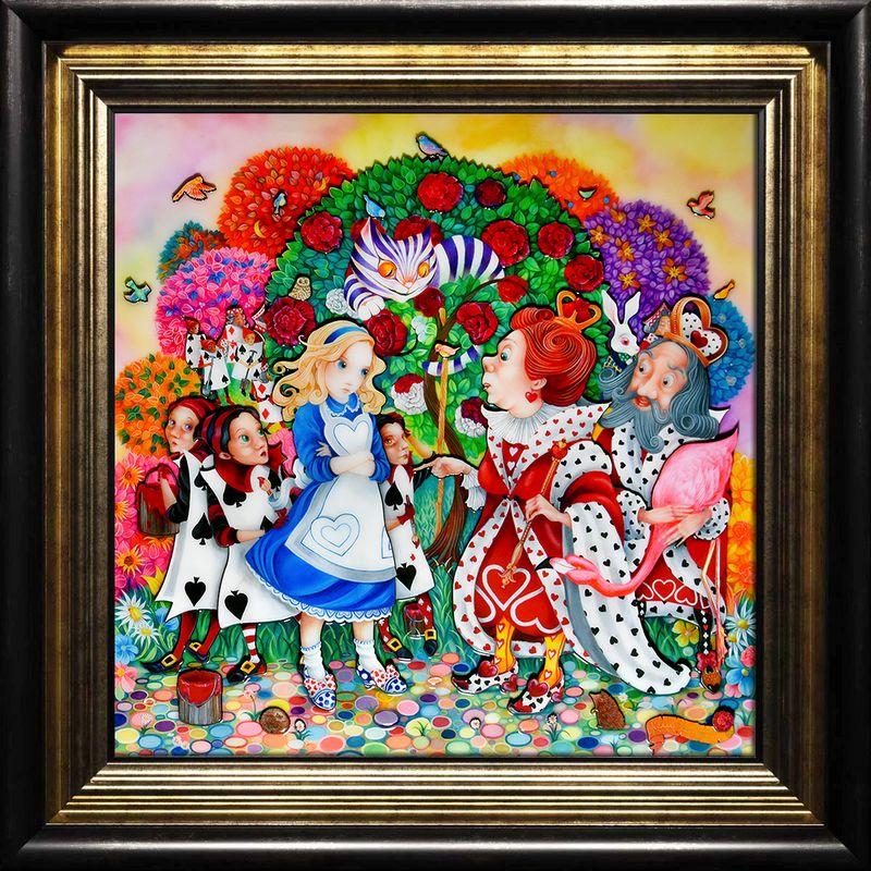 Alice In The Rose Garden - Black-Gold - Framed by Kerry Darlington