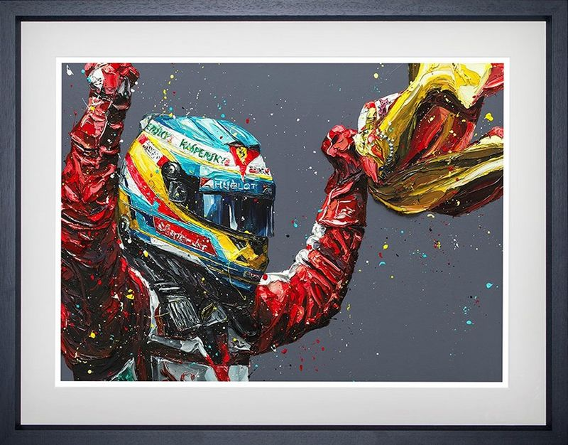 Alonso Spain 2013 (Fernando Alonso) - Black - Framed by Paul Oz