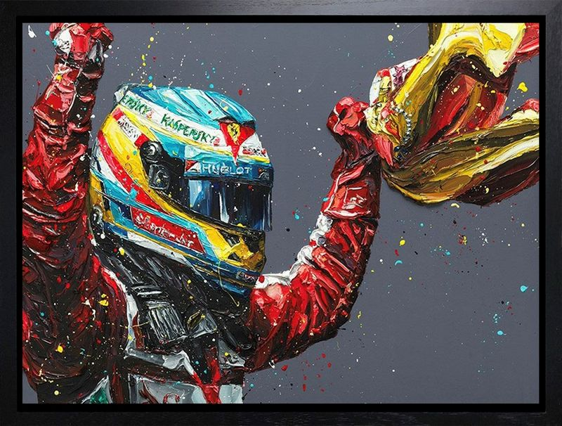 Alonso Spain 2013 (Fernando Alonso) - Canvas - Black Framed Box Canvas by Paul Oz