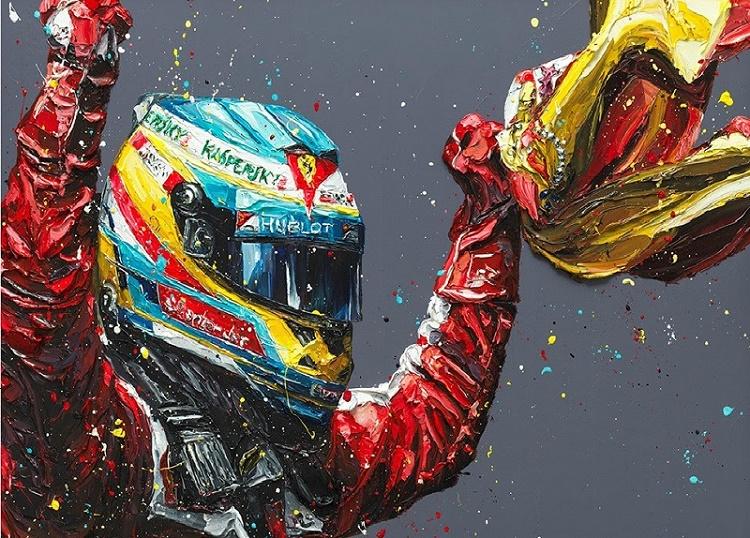 Alonso Spain 2013 (Fernando Alonso)  - Framed by Paul Oz
