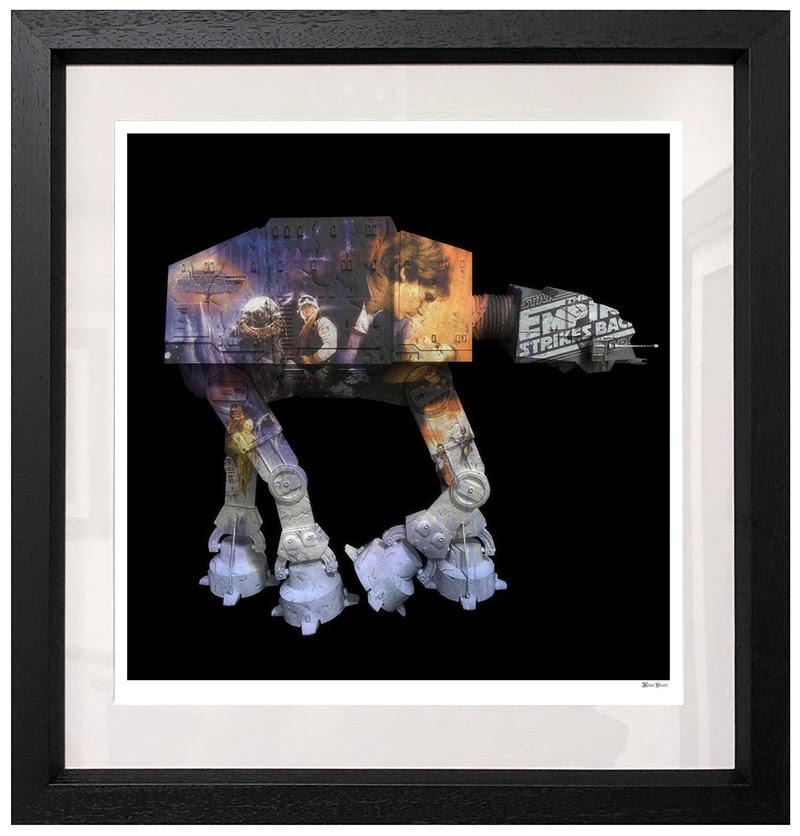 AT AT - Black Background - Large - Framed by Monica Vincent