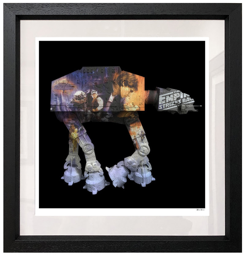AT AT - Black Background - Small - Framed by Monica Vincent